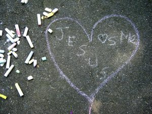 """Jesus Loves Me"" - a chalk drawing at a 2015 youth picnic, First Baptist Shelton, CT. Photo by E. Smith."